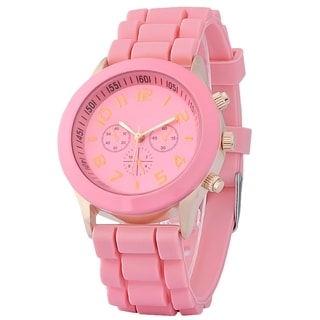 Zodaca Pink Analog Quartz Silicone Jelly Sports Watch