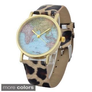 Zodaca Women's Simple Leather World Map Watch