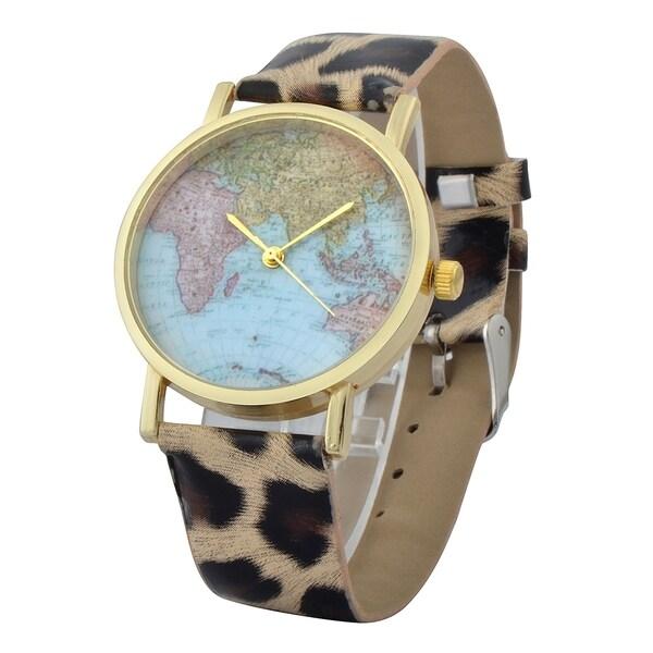 Shop Zodaca Women\'s Simple Leather World Map Watch - Free Shipping ...