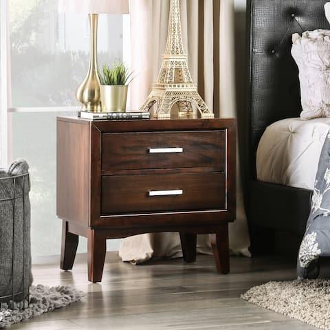 Furniture of America Kasten Brown Cherry 2-Drawer Mid-century Style Nightstand