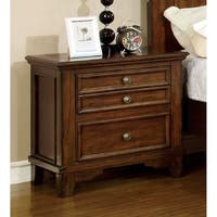Furniture of America Trimea Cherry 2-Drawer Nightstand with Built-in USB Outlet