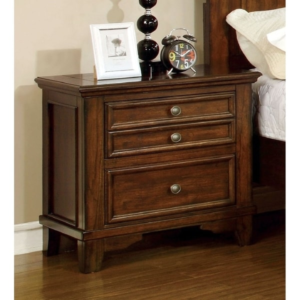 Furniture of America Trimea Transitional Cherry Solid Wood Nightstand