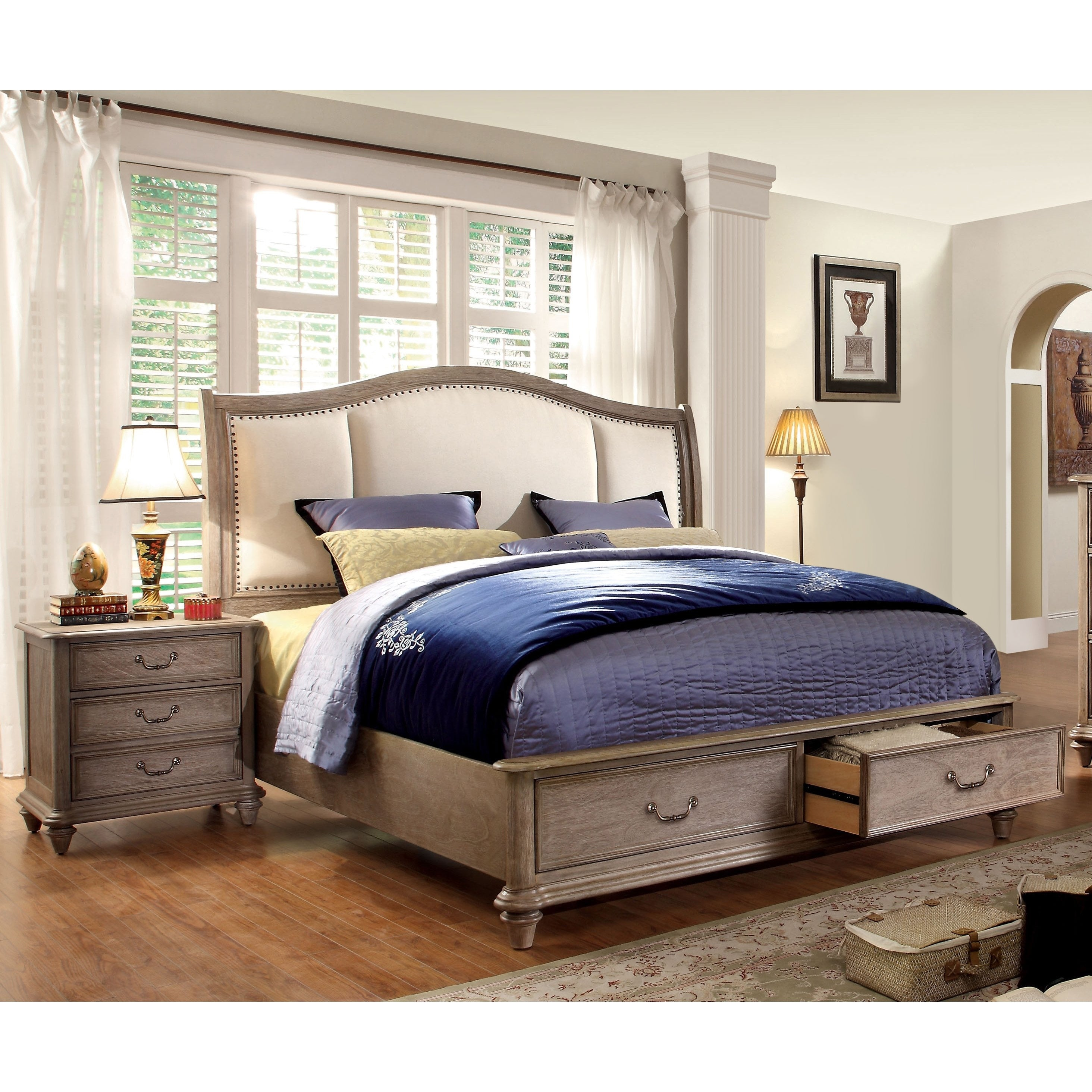 Shop Furniture Of America Pury Rustic Brown Solid Wood 2 Piece Bedroom Set Overstock 10001077
