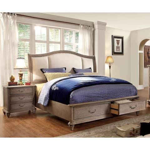 Furniture of America Pury Rustic Brown Solid Wood 2-piece Bedroom Set