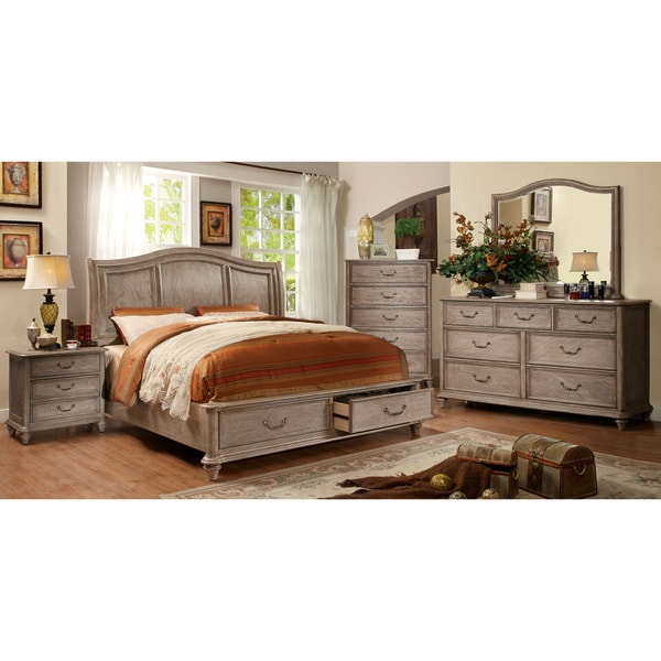 Rustic White And Grey Bedroom: Shop Furniture Of America Minka III Rustic Grey 4-piece