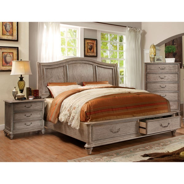 Furniture of america minka iii rustic grey 3 piece bedroom for Rustic bedroom furniture