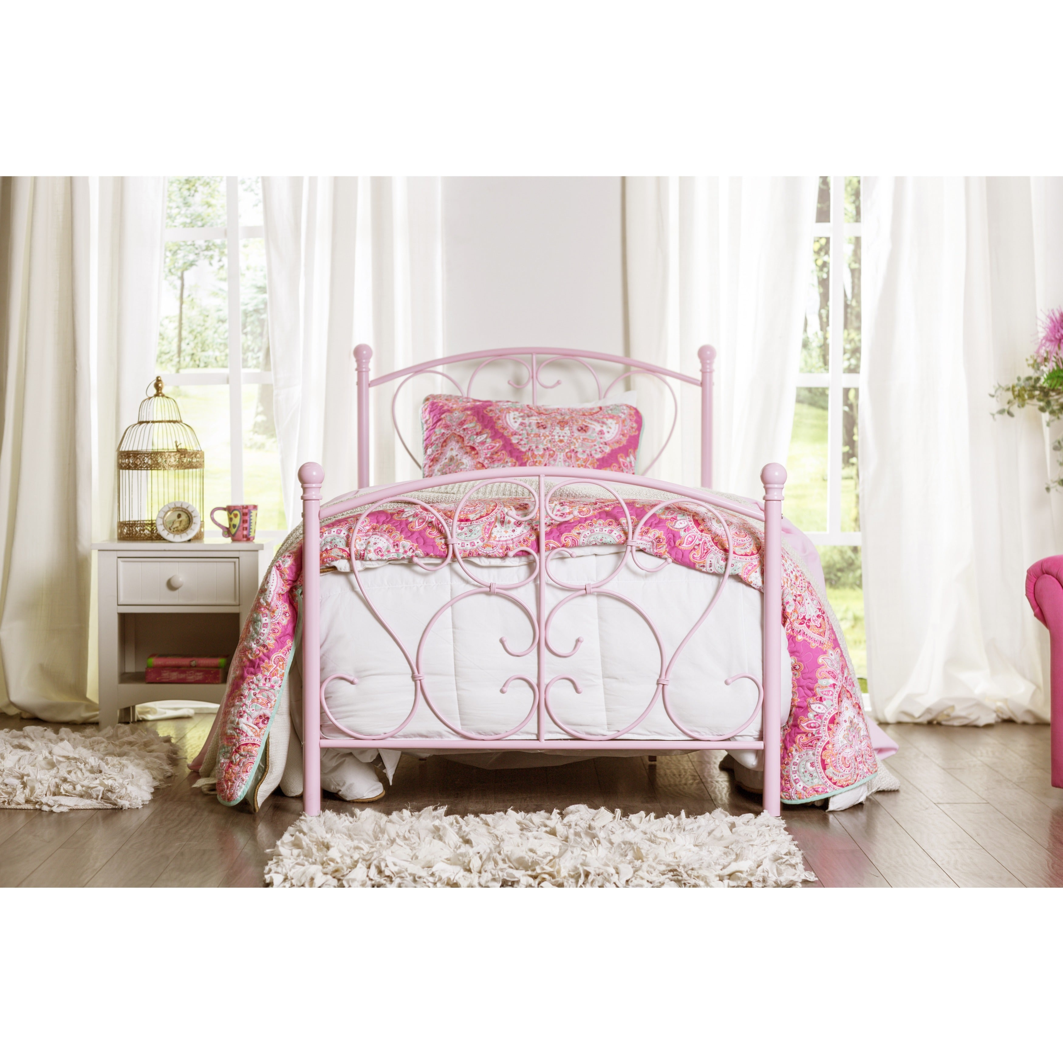 Furniture of America Bridelle Princess Style Metal Twin Bed Free