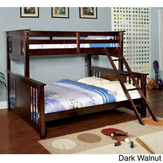 Furniture of America Solid Wood Mission Style Junior Twin XL over Queen Bunk Bed (2 options available)