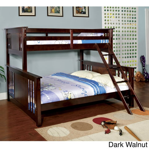 Furniture of America Solid Wood Mission Style Junior Twin XL over Queen Bunk Bed