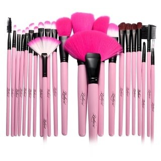 Zodaca Pink Professional Beauty Makeup Brushes Tool Set with Carrying Pouch Bag (Set of 24)
