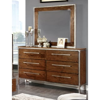 Furniture of America Anye 2-Piece Industrial Style Dresser and Mirror Set