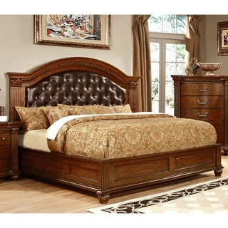 Furniture of America Wamp Traditional Cherry Faux Leather Platform Bed