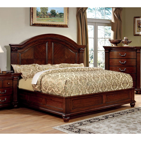 Furniture of America Tamp Traditional Cherry Solid Wood Platform Bed