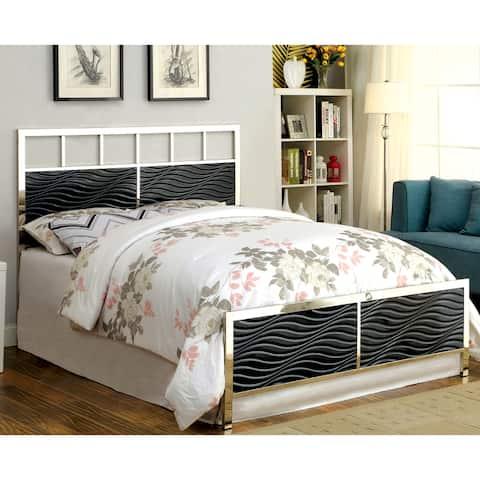 Furniture of America Nols Modern Chrome Panel Bed