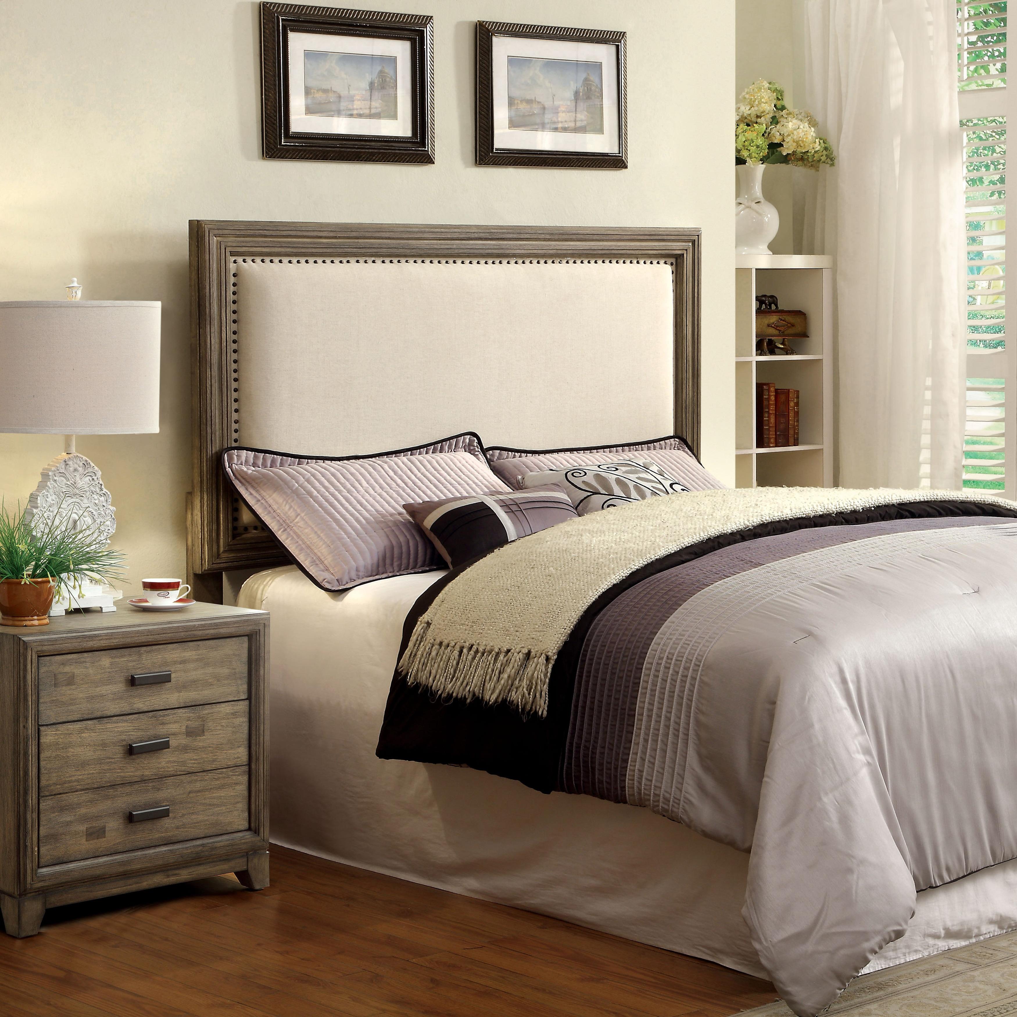 Furniture of America Arian Rustic Grey Upholstered Headbo...