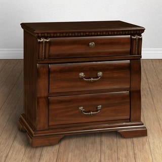 Tasine Traditional Cherry 3-drawer Nightstand by FOA