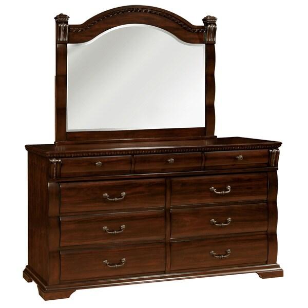 Furniture Of America Tasine Cherry 2 Piece Dresser And Mirror Set