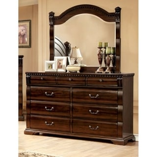Furniture of America Tasine Cherry 2-Piece Dresser and Mirror Set
