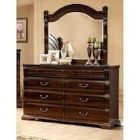 Furniture of America Tasine Cherry 2-Piece Dresser and Mirror Set