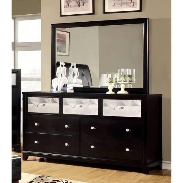 . Furniture of America Divonne Modern Black 2 Piece Dresser and Mirror Set