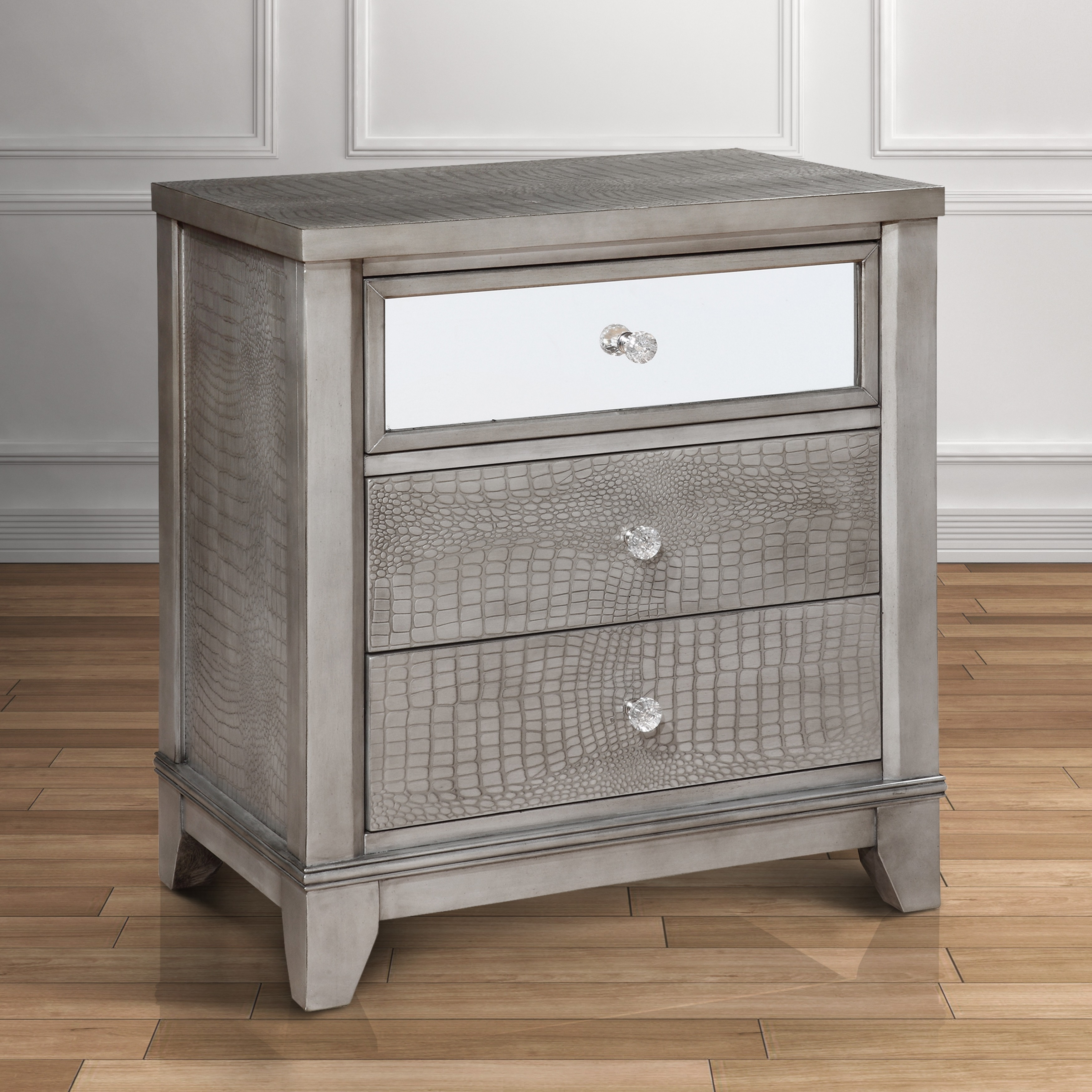 Furniture of America Divonne Modern Crocodile Silver 3-Drawer Nightstand
