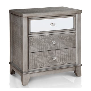 furniture of america divonne modern crocodile silver 3drawer nightstand