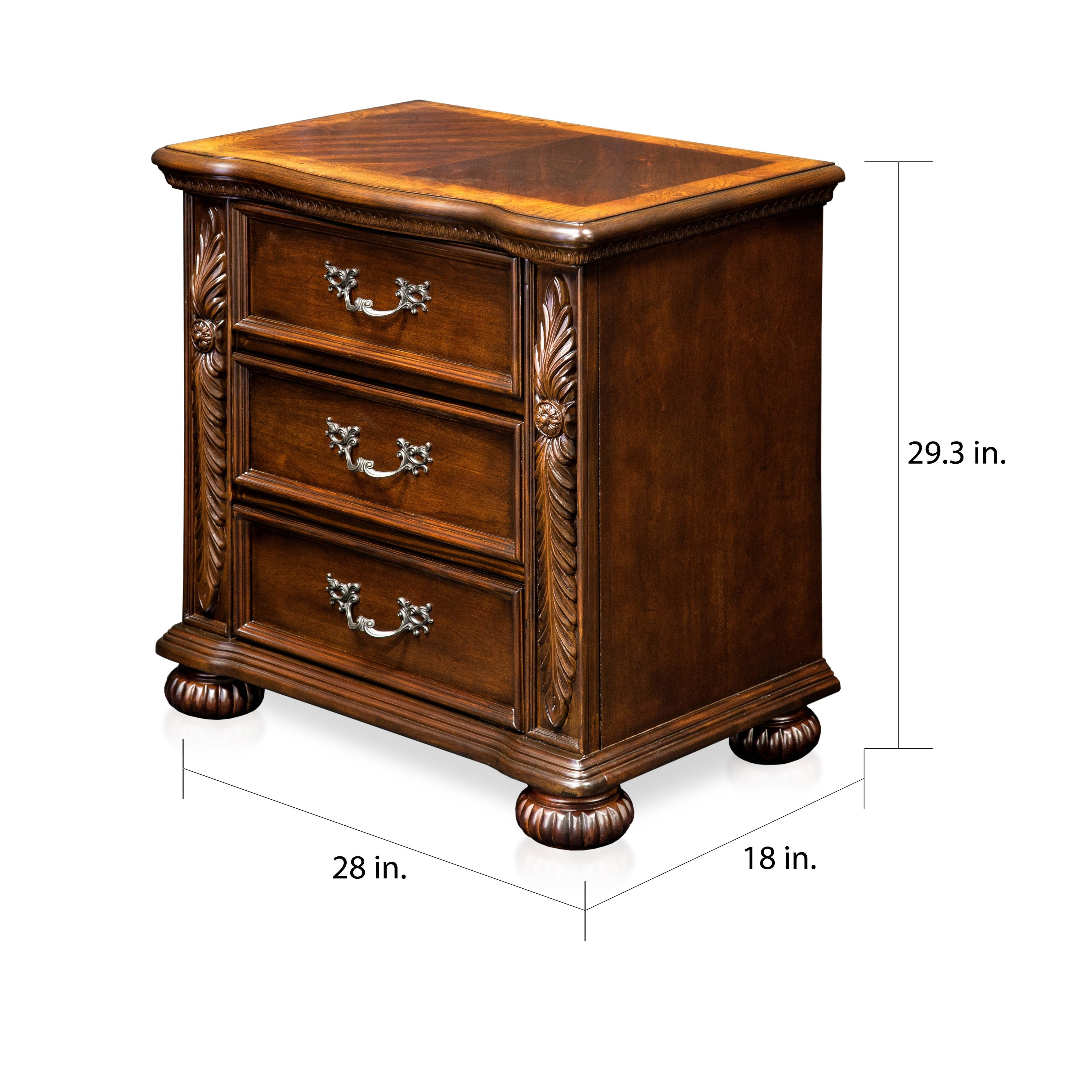 Furniture Of America Ulis Traditional Cherry Solid Wood Nightstand