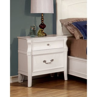 Furniture of America Mald Transitional White Solid Wood Nightstand