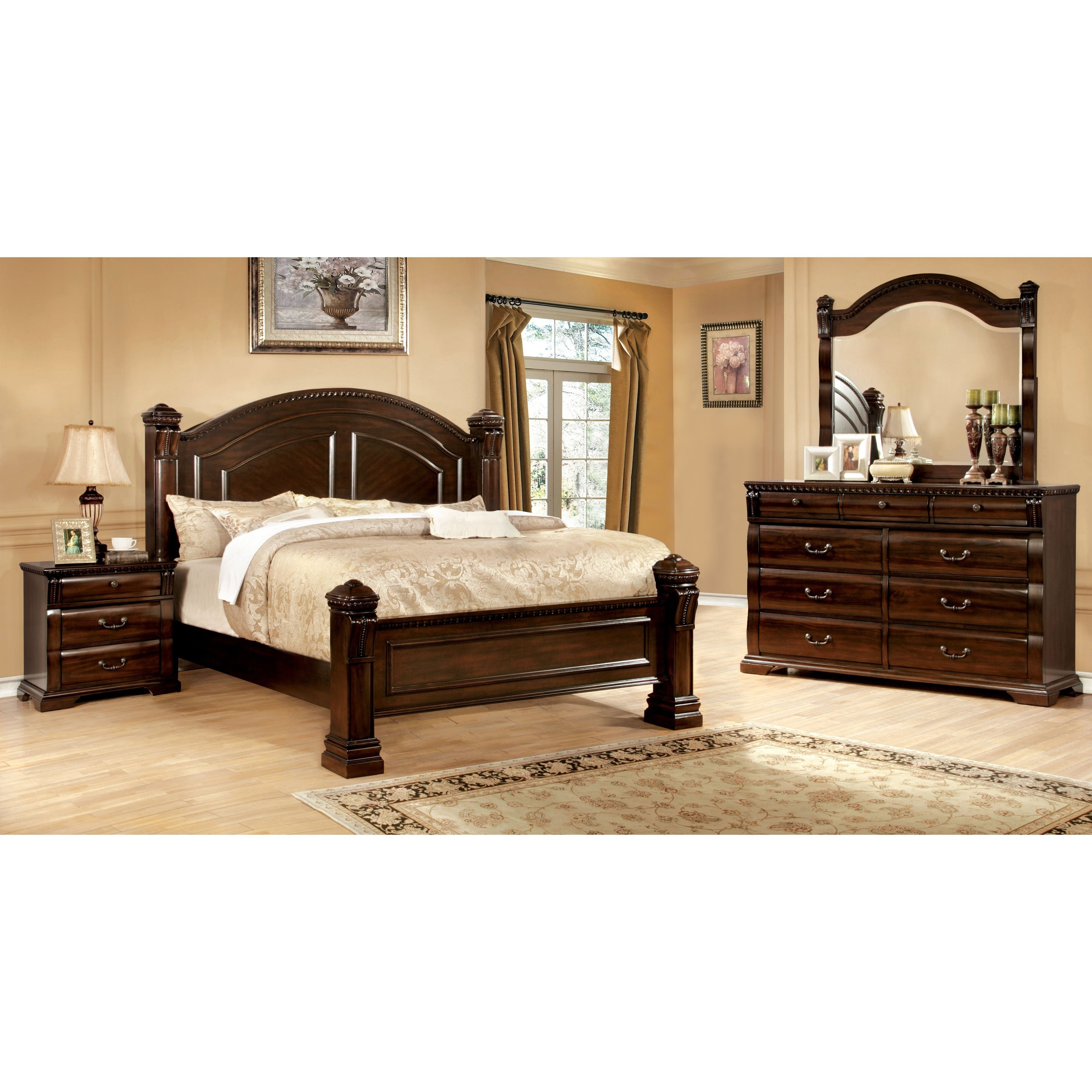 Furniture of America Tay Traditional Cherry 4-piece Bedroom Set