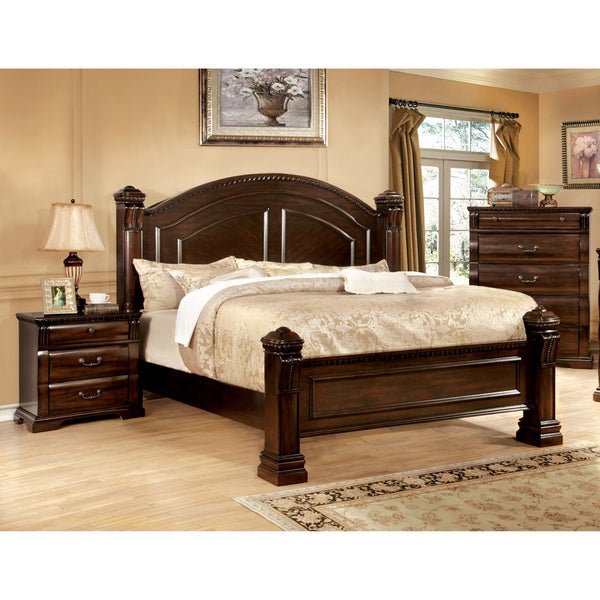 Shop Furniture Of America Tasine Cherry 2 Piece Poster Bed And Nightstand Set Free Shipping