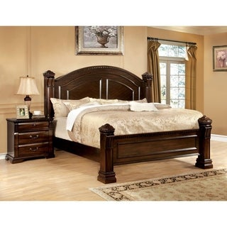 Furniture of America Tasine Cherry 2-Piece Poster Bed and Nightstand Set
