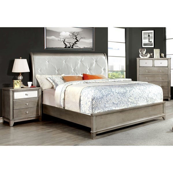 furniture of america divonne modern 3 piece crocodile silver bedroom