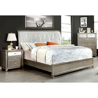 Furniture of America Divonne Modern 3 Piece Crocodile Silver Bedroom Set. Modern Bedroom Sets For Less   Overstock com