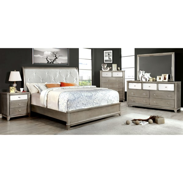 furniture of america divonne modern 4 piece crocodile