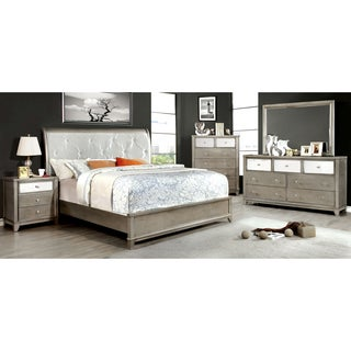 Furniture of America Divonne Modern 4-Piece Crocodile Silver Bedroom Set