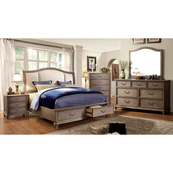Furniture of America Pury Farmhouse Brown 4-piece Bedroom Set