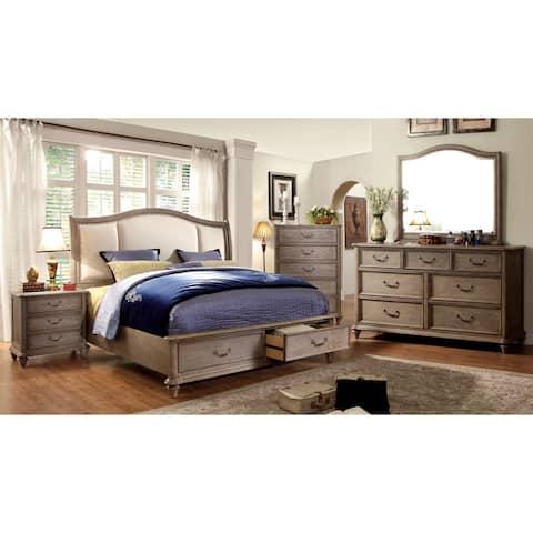 Furniture of America Pury Farmhouse Brown 4-piece Bedroom Set