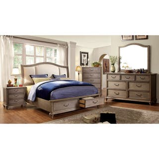 furniture of america minka iv rustic grey 4 piece bedroom set - Grey Bedroom Set