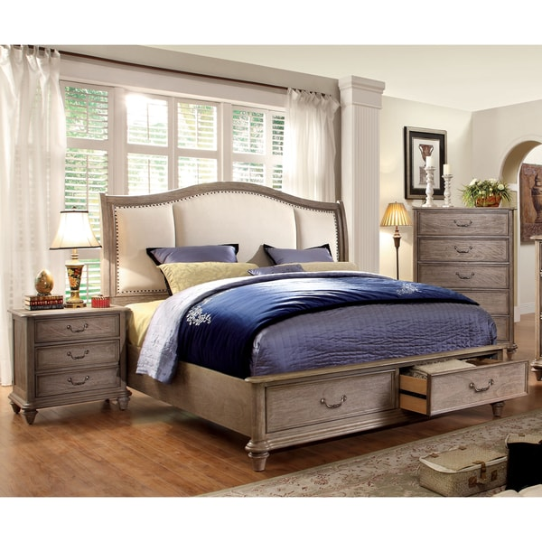 Furniture of america minka iv rustic grey 3 piece bedroom for What size rug for 12x12 room