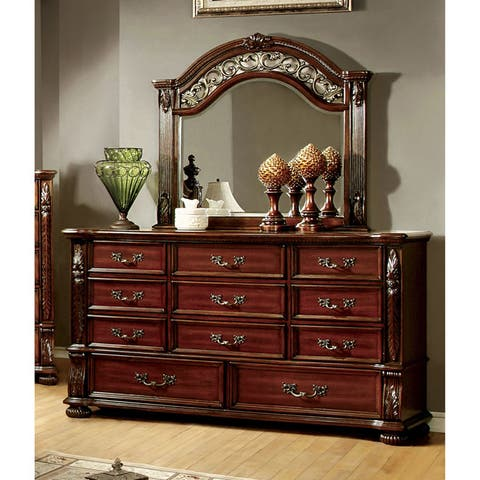 Furniture of America Ulis Cherry 2-piece Dresser and Mirror Set