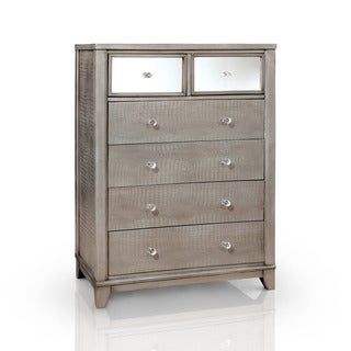 Furniture of America Divonne Modern Crocodile Silver 6-Drawer Chest