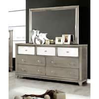 Silver Orchid Gerrard Modern Crocodile Silver 2-piece Dresser and Mirror Set