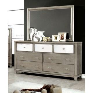 Furniture of America Divonne Modern Crocodile Silver 2-Piece Dresser and Mirror Set