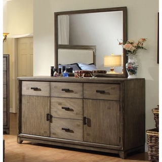 Furniture of America Rishen Rustic 2-Piece Natural Ash Dresser and Mirror Set