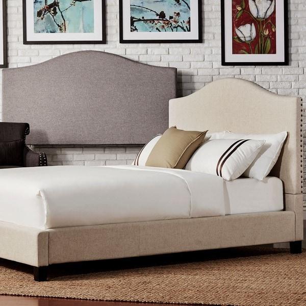 INSPIRE Q Blanchard Nailheads Camelback Upholstered Full Platform Bed