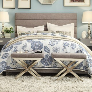 TRIBECCA HOME Corbett Horizontal Striped Gray Linen Upholstered Full-size Platform Bed