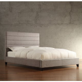 Corbett Horizontal Striped Gray Linen Upholstered King-size Platform Bed by iNSPIRE Q Classic
