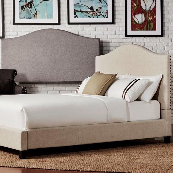 blanchard nailheads camelback beige linen upholstered kingsize headboard ny inspire q bold