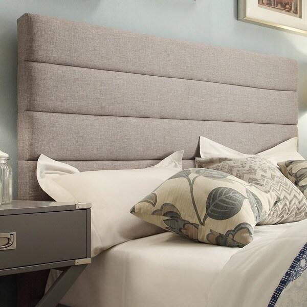 Corbett Horizontal Striped Gray Linen Upholstered Full Size Headboard By Inspire Q Clic