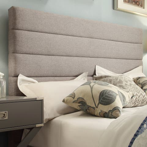 Corbett Horizontal Tufted Gray Linen Upholstered Headboard by iNSPIRE Q Classic